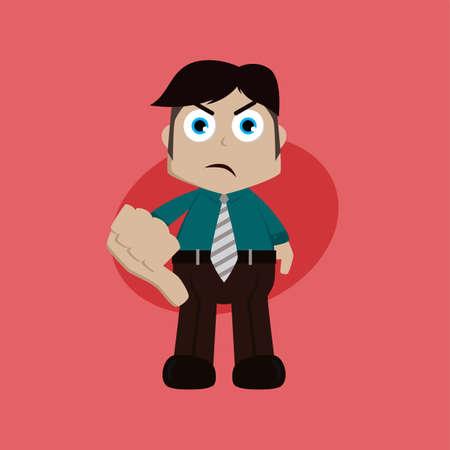 businessman manager at work thumb down cartoon vector art illustration Illustration