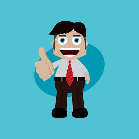 businessman manager at work thumb up cartoon vector art illustration