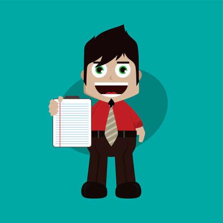 businessman manager at work holding report book cartoon vector art illustration
