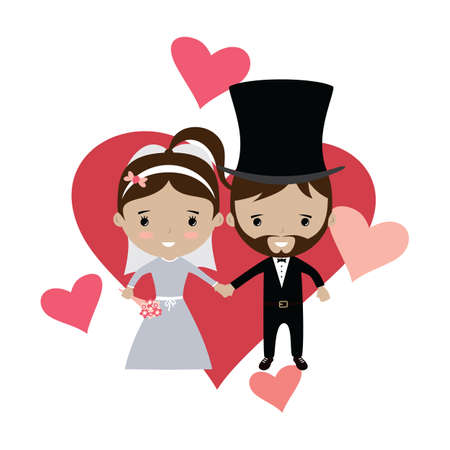 adorable groom and bride lovely marriage cartoon theme vector Illustration