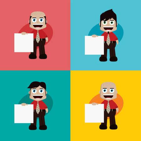 businessman manager at work holding blank sign cartoon vector art illustration Illustration