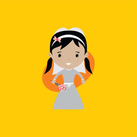 adorable bride lovely marriage cartoon theme vector art