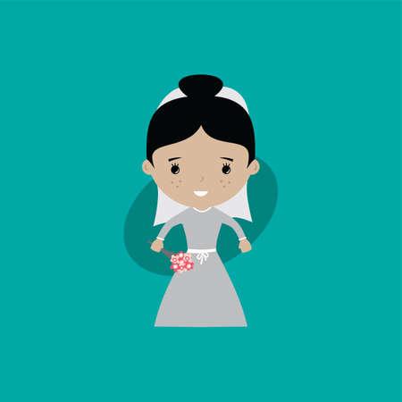 adorable bride lovely marriage cartoon theme vector art