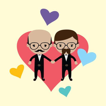 adorable gay spouse groom lovely cartoon marriage theme vector art