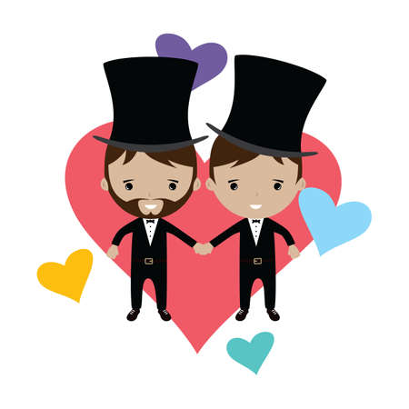 adorable gay spouse groom lovely cartoon marriage theme vector art