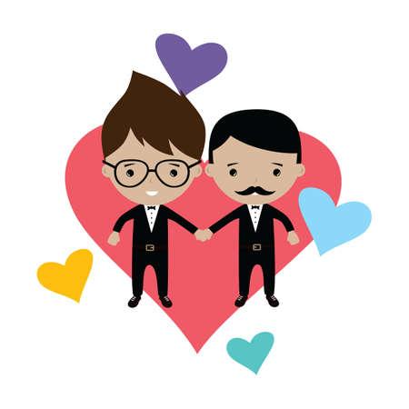 gay men: adorable gay spouse groom lovely cartoon marriage theme vector art