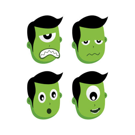 green zombie monster character vector art illustration Illustration