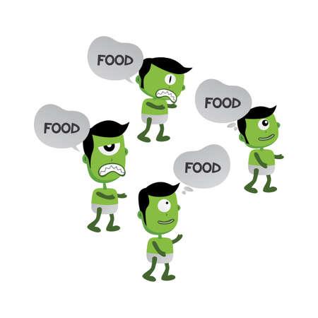 mutant: green zombie monster character vector art illustration Illustration