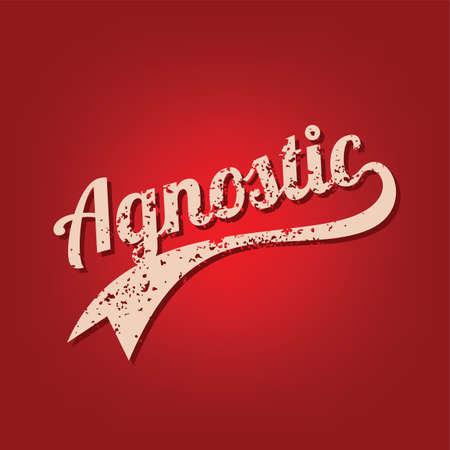 agnostic grungy theme varsity retro text vector art Illustration