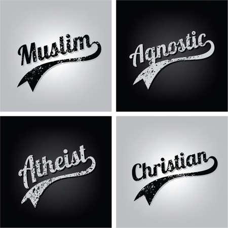 religious ignorance believe grungy text varsity vector art Illustration