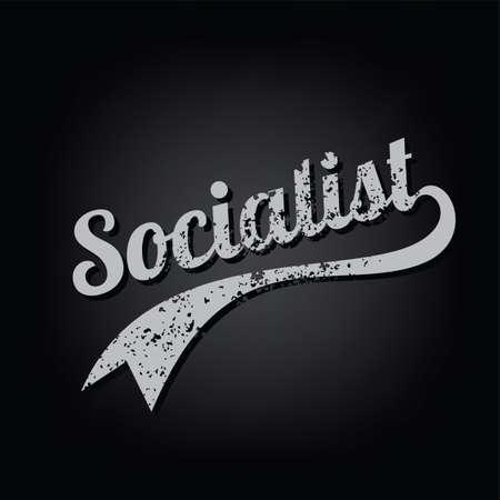 atheism socialist grungy retro varsity theme text vector art Illustration