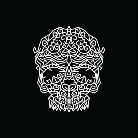 tribal tribe native art skull head vector