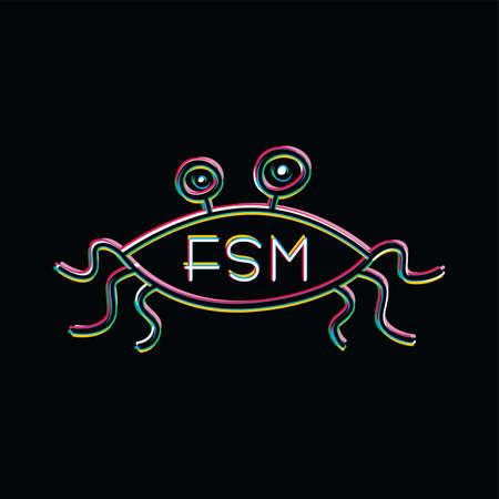 Flying Spaghetti Monster - Atheism Satyr God Parody Vector Art
