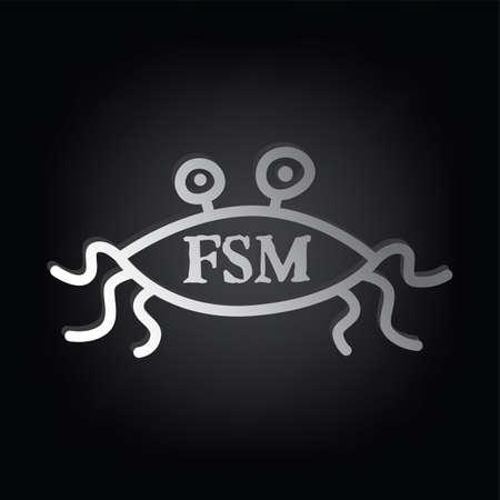 Flying Spaghetti Monster Atheism Satyr God Parody Vector Art
