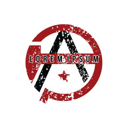 Anarchy Atheism Socialist Logo - Logotype Vector Art Illusztráció