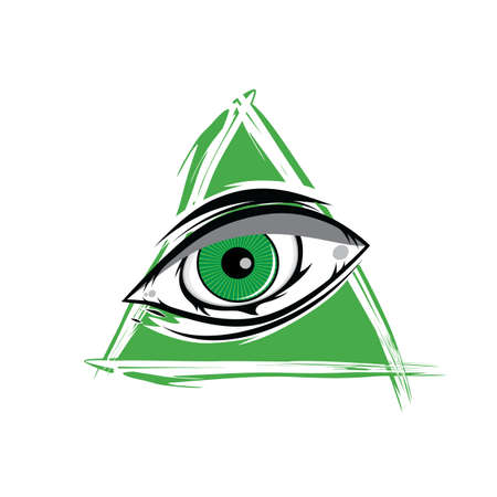 atheism: The All Seeing Eye - Green Firey Flame Illuminati Freemasonry Vector Art