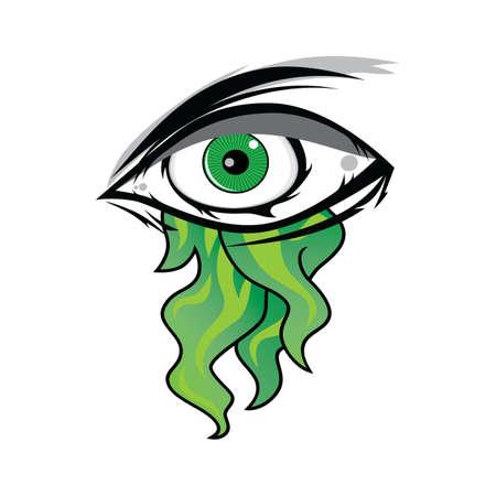 ojo de horus: El Todo Ver Ojo - Verde Firey Llama Illuminati Maestría Vector Art Vectores
