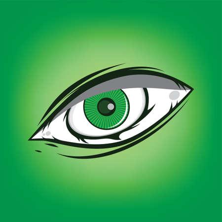 The All Seeing Eye - Green Firey Flame Illuminati Freemasonry Vector Art