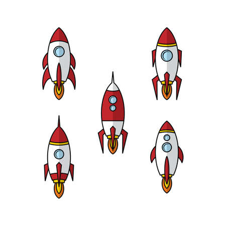 space ship rocket explorer vector art illustration