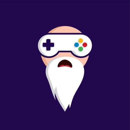 freaky: game guru - master gamer - video game theme logo - logotype vector art