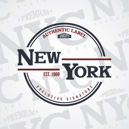 Nueva york, estados unidos de américa, varsity, divisa, etiqueta, emblema, sello, vector Foto de archivo - 85069817