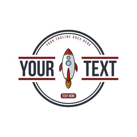 voyager: space shuttle rocket - badge label emblem vector art