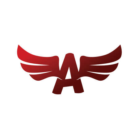 Letter with aviator wing design.