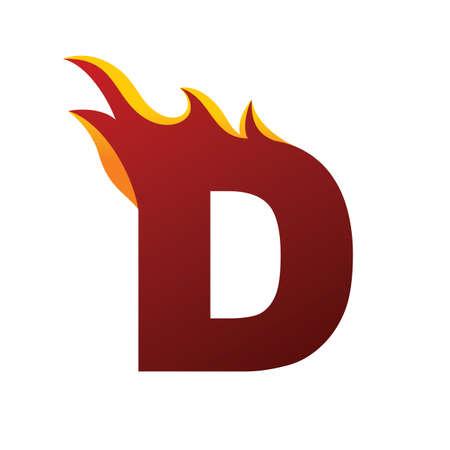 Fire burning letter D alphabet vector Ilustracja