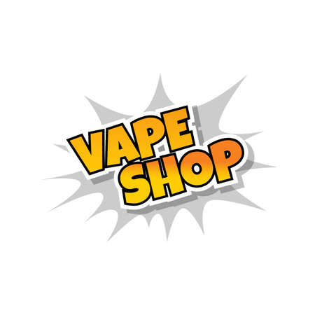 Vape shop text pop art design