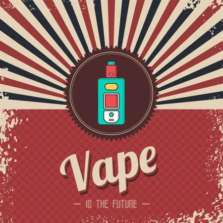 retro vaporizer electric cigarette vapor mod - vape life vector