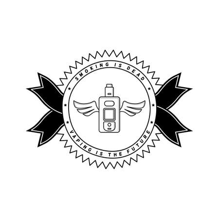 Vaporized electric cigarette badge. Illustration