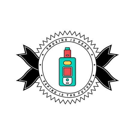 vaporizer electric cigarette vapor mod - badge label vector Illustration