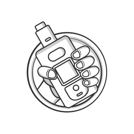 black and white cartoon electric cigarette - vaporizer vector art