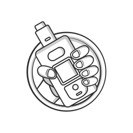 black and white cartoon electric cigarette - vaporizer vector art