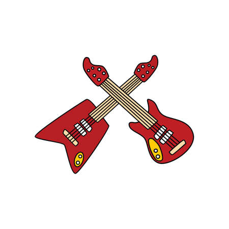 Guitar doodle sketch cartoon vector in isolated background.