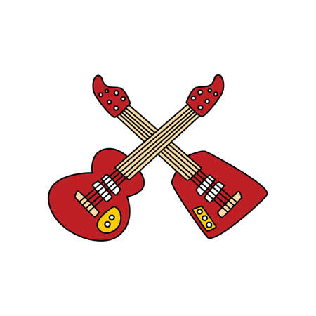 Two red guitars in isolated background Ilustração