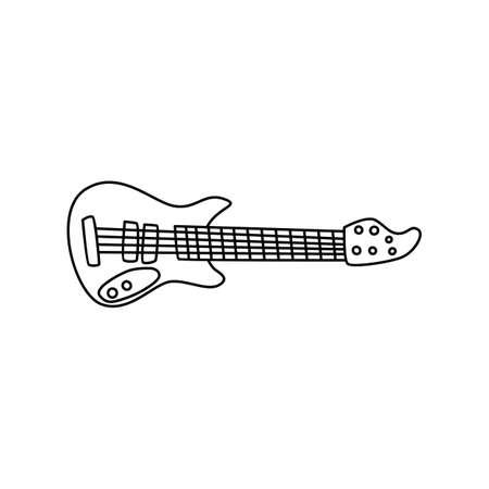 Guitar music instrument doodle sketch in isolated background Ilustração