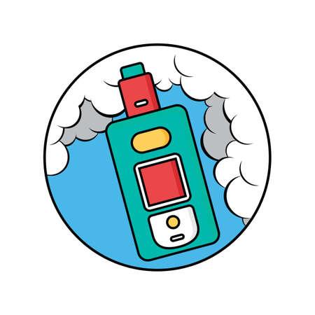 Retro vaporizer electric cigarette vapor inside a circle Ilustração