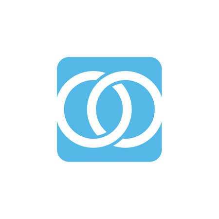 Two circle intertwined in blue background