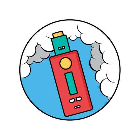 Retro vaporizer electric cigarette vape mods inside a circle with blue backgrounds Ilustração