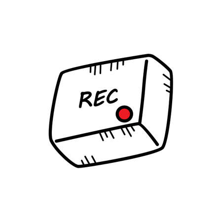 Square button icon with rec text and red dot in isolated background. Doodle sketch cartoon vector Illustration