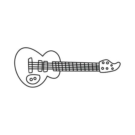 Guitar music instrument doodle sketch cartoon in isolated background