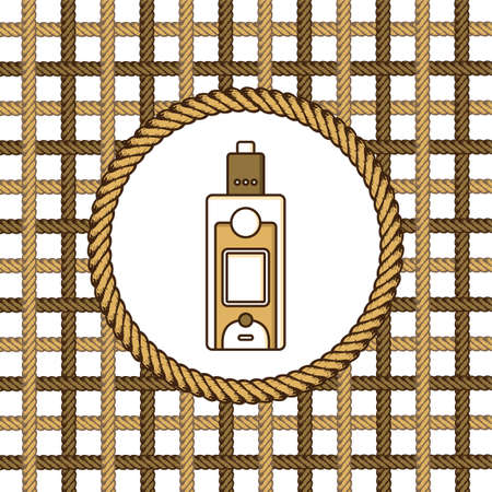 Vaporizer electric cigarette lasso rope vector art. Illustration