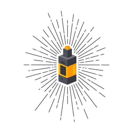 Isometric block sunray burst electric cigarette personal vaporizer vector art Illustration