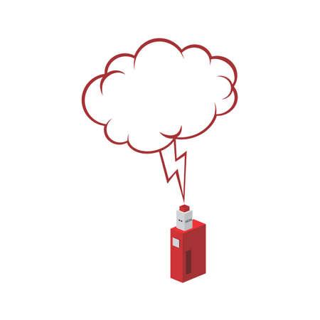 Isometric bubble chat electric cigarette personal vaporizer vector art