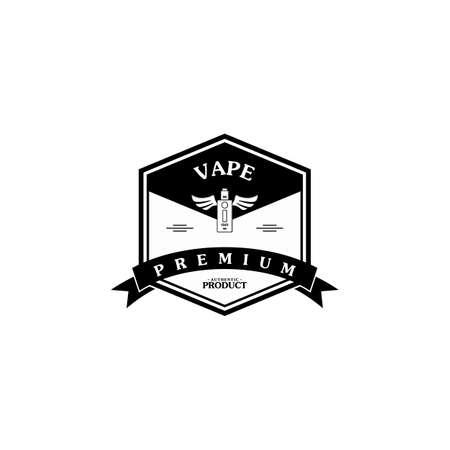 electric cigarette personal vaporizer e-cigarette retro label badge vector