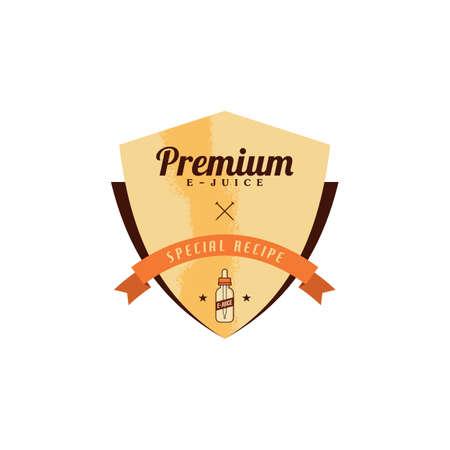 personal vaporizer e-cigarette e-juice liquid label badge vector art