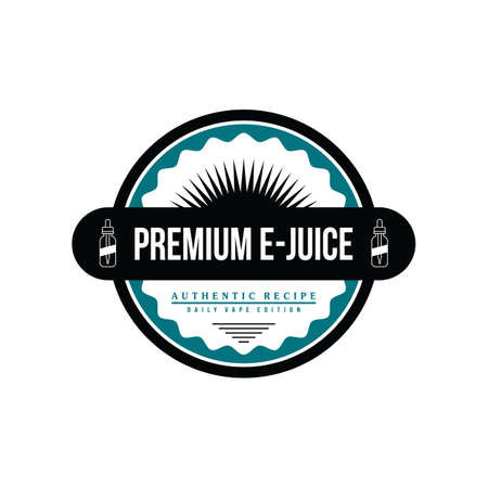 personal vaporizer e-cigarette e-juice liquid label badge vector art set Illustration