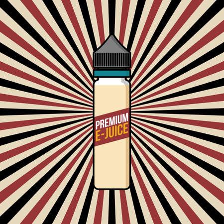 Personal vaporizer e-cigarette e-juice liquid plastic bottle spark sun ray burst vector art. Illustration