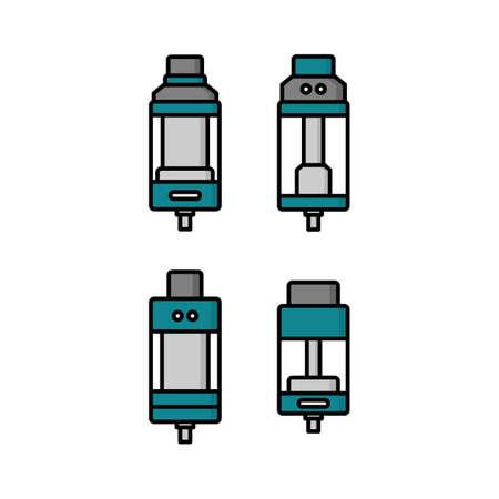 personal vaporizer e-cigarette atomizer tank clearomizer atty vector art